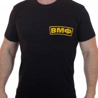 Черная мужская футболка с вышивкой ВМФ