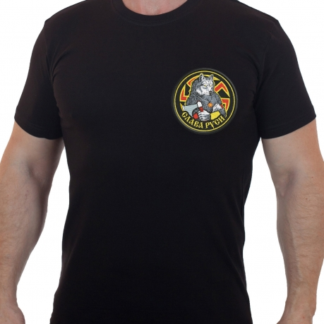 Черная мужская футболка с вышивкой Волк Коловрат