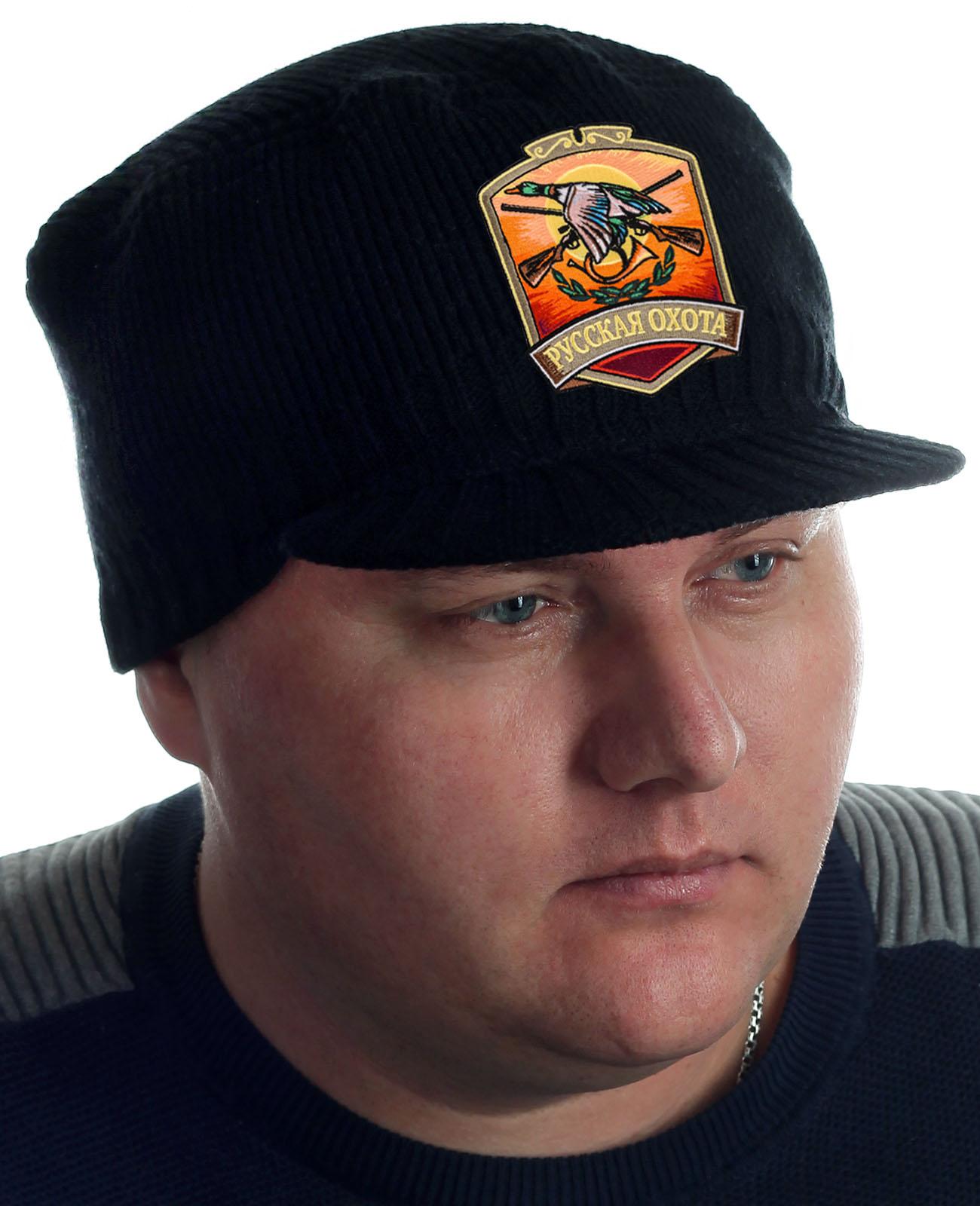 Купить черную мужскую кепку Miller Way с нашивкой РУССКАЯ ОХОТА оптом или в розницу