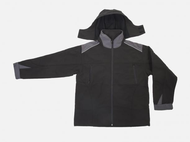Черная мужская куртка с капюшоном (на флисе).