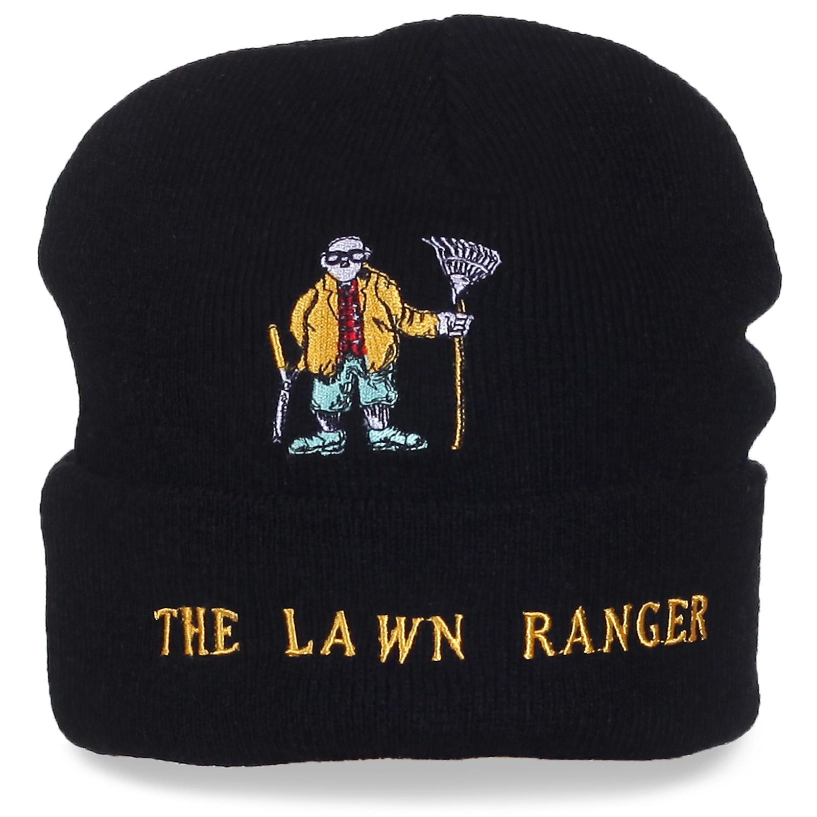 Черная мужская шапка с надписью The Lawn Ranger