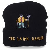 Имиджевая черная шапка с контрастной вышивкой The Lawn Ranger – с нами быть модным недорого