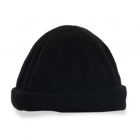 Черная мужская шапочка с отворотом