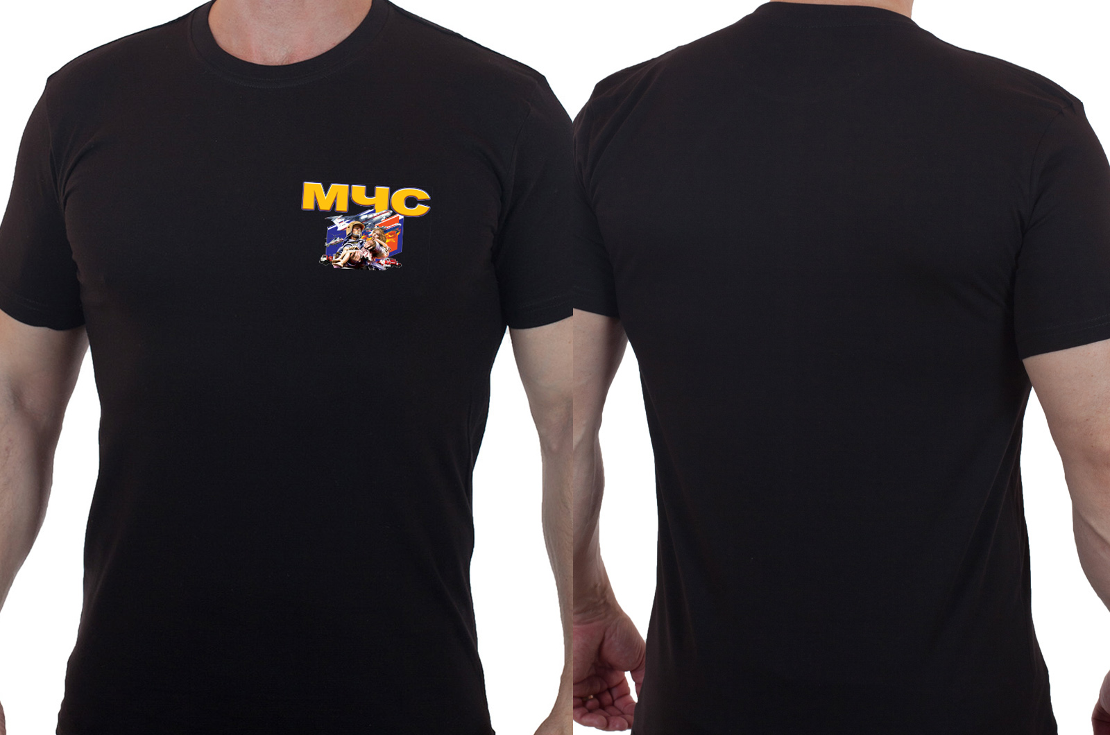 Черная оригинальная футболка МЧС - заказать с доставкой