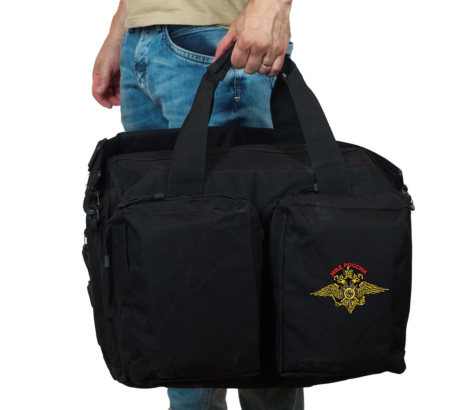 Черная полевая сумка-рюкзак с шевроном МВД купить оптом