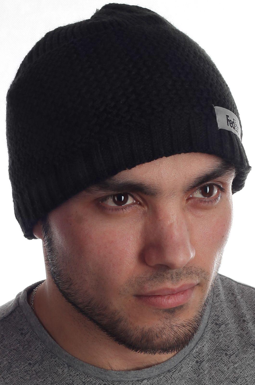 Черная популярная вязаная шапка FedEx с флисом в ажурную резинку