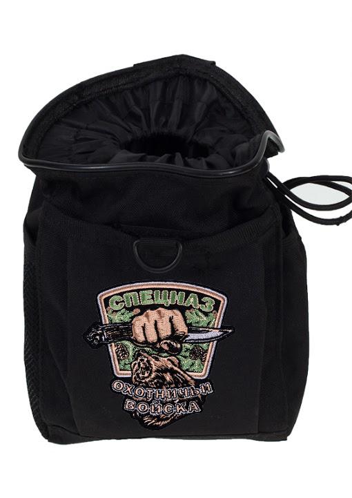 Черная поясная сумка под фляжку с нашивкой Охотничьих войск