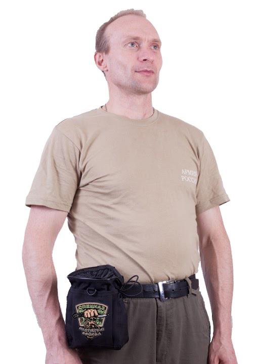 Черная поясная сумка под фляжку с нашивкой Охотничьих войск купить оптом