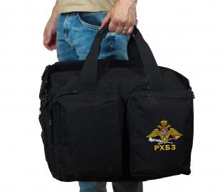 Черная практичная сумка-рюкзак с эмблемой РХБЗ купить в розницу