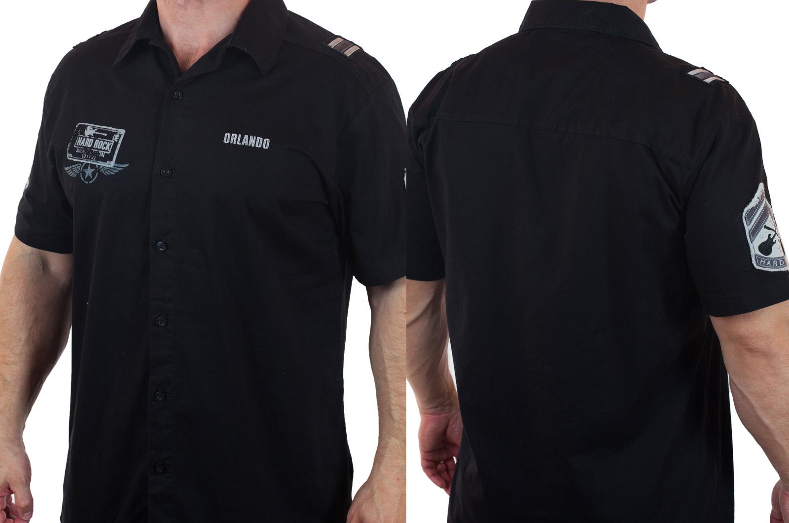Черная рубашка Hard Rock для знатоков стиля брендовое качество