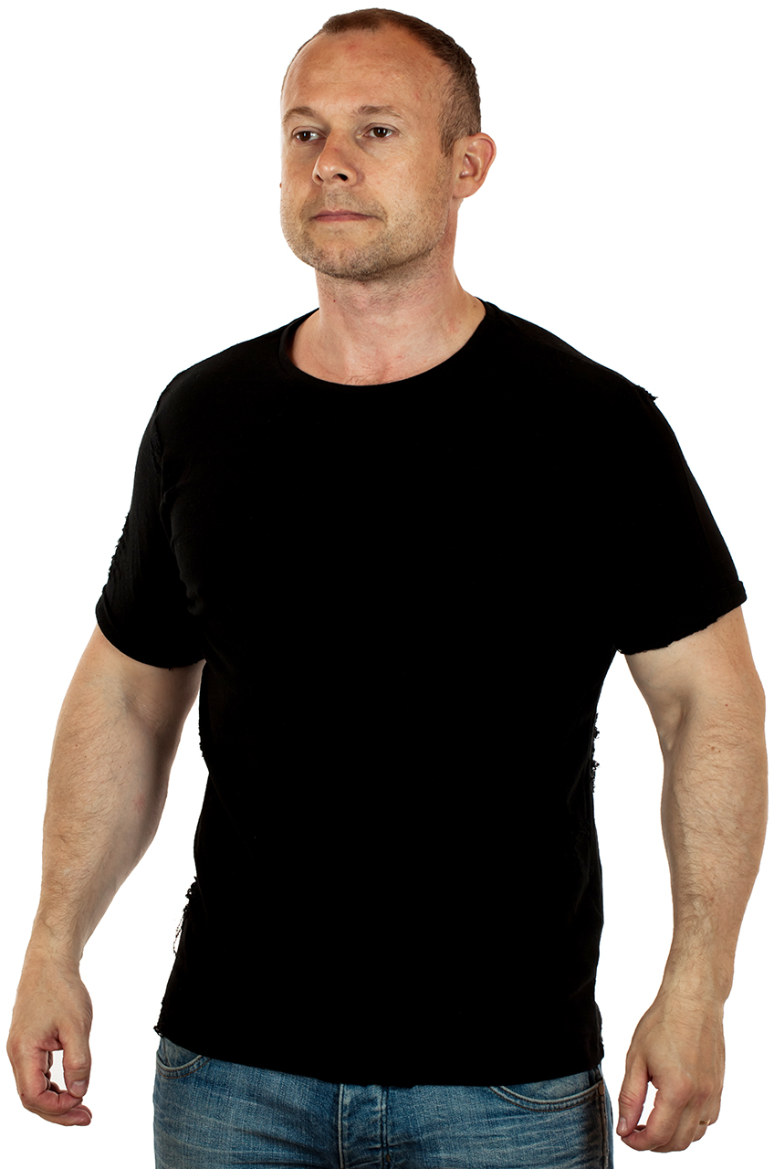 Купить недорого мужскую рваную футболку
