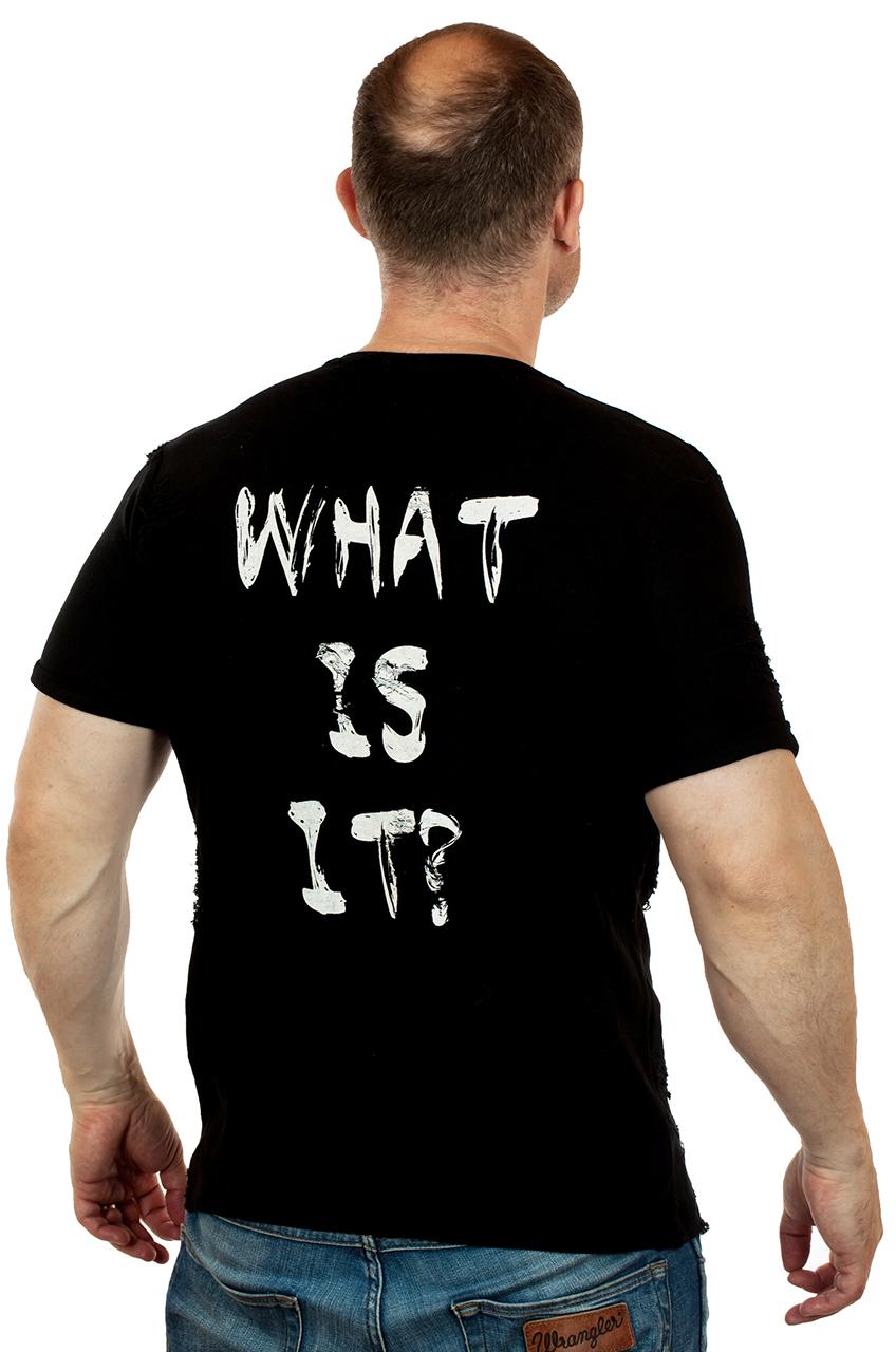 Черная рваная мужская футболка SPLASH с извечным вопросом «What is it?»