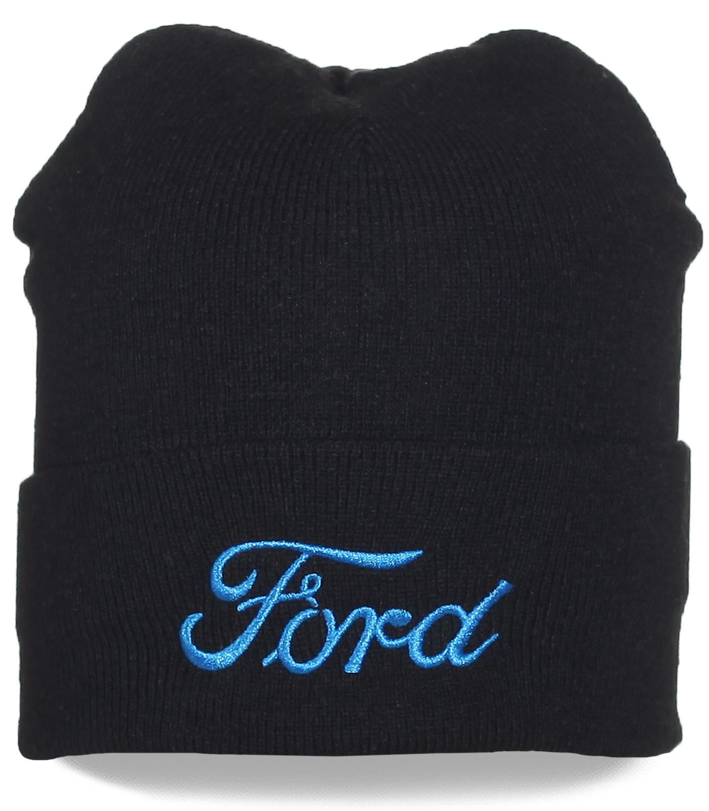 Черная шапка Ford. Контрастная надпись, подворот. Модель, которая в моде всегда!
