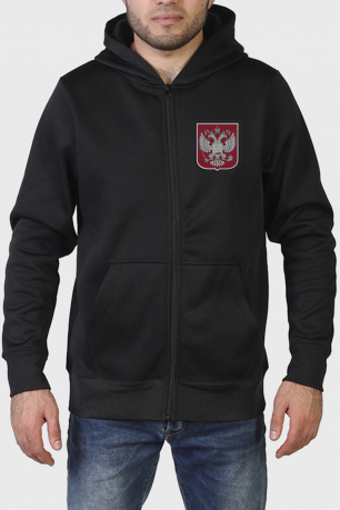 Черная толстовка на молнии с серебренным гербом РФ