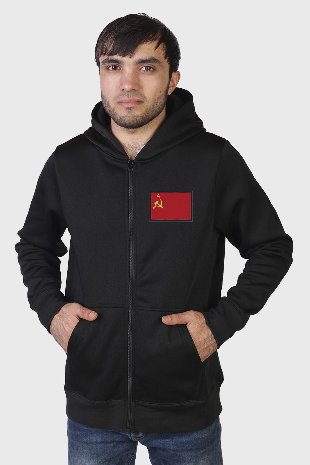 Черная толстовка с нашивкой Флаг СССР