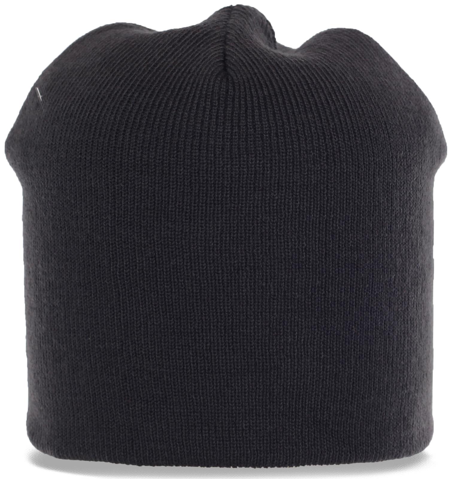 Черная трикотажная шапка бини