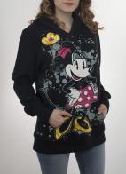 Чёрная удлинённая толстовка-худи с карманом кенгуру. Стиль оверсайз и прикольный принт от дизайнеров Disney Parks. Гарантируем: такой не будет ни у кого!