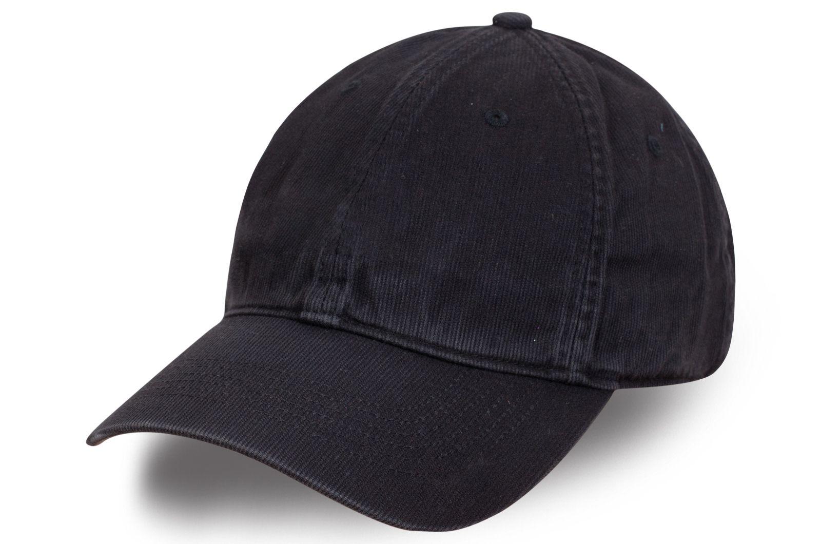 Черная вельветовая бейсболка