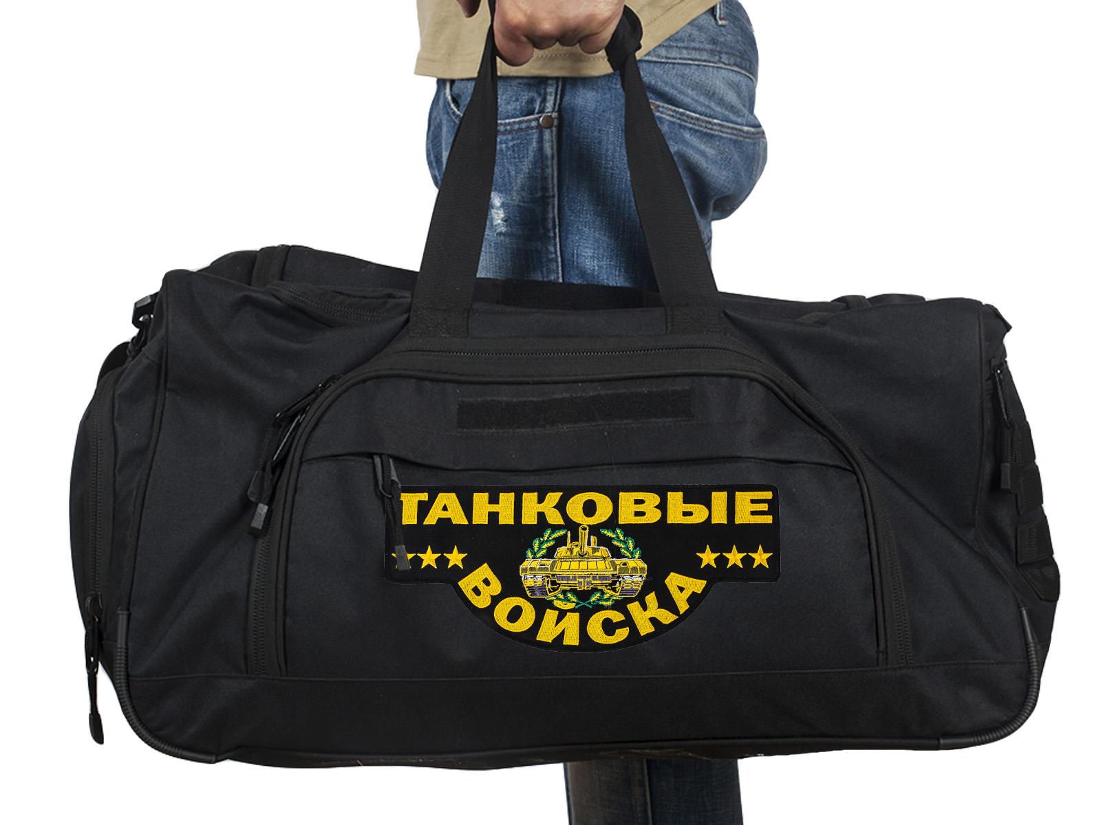 Купить черную военную сумку 08032B с нашивкой Танковые Войска по выгодной цене