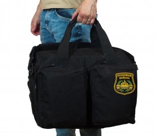 Черная военная сумка-рюкзак с нашивкой Танковые Войска - купить в подарок