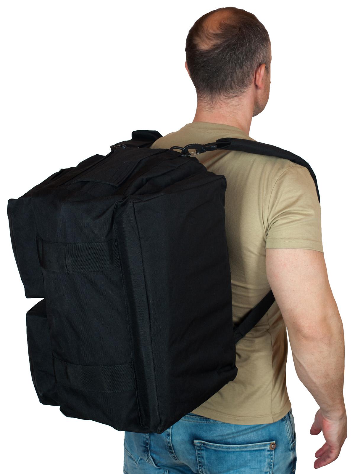 Черная военная сумка-рюкзак с нашивкой Танковые Войска - купить оптом