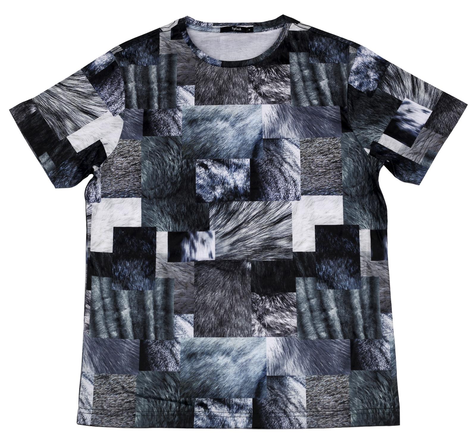 Черно-белая футболка Splash. Абстракция