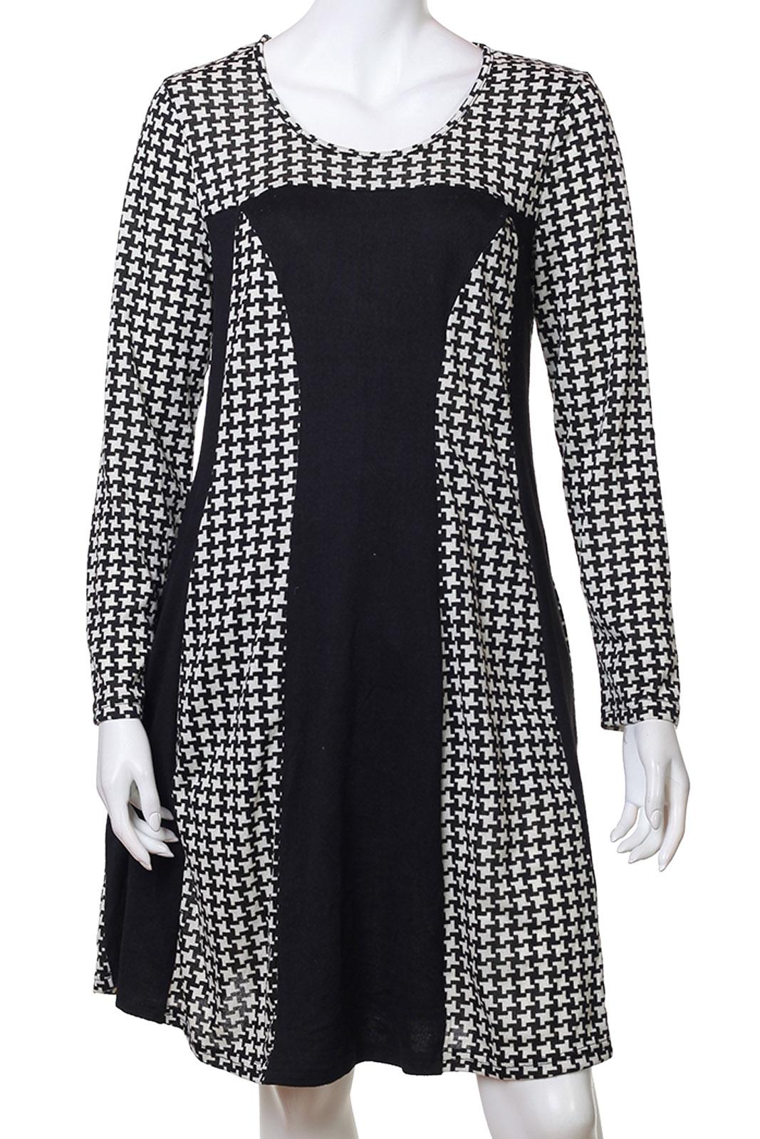 Черно-белое платье до колен от Long Bao