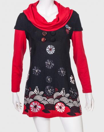 Черно-красное трикотажное платье Le Grenier