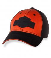 Черно-оранжевая байкерская бейсболка.