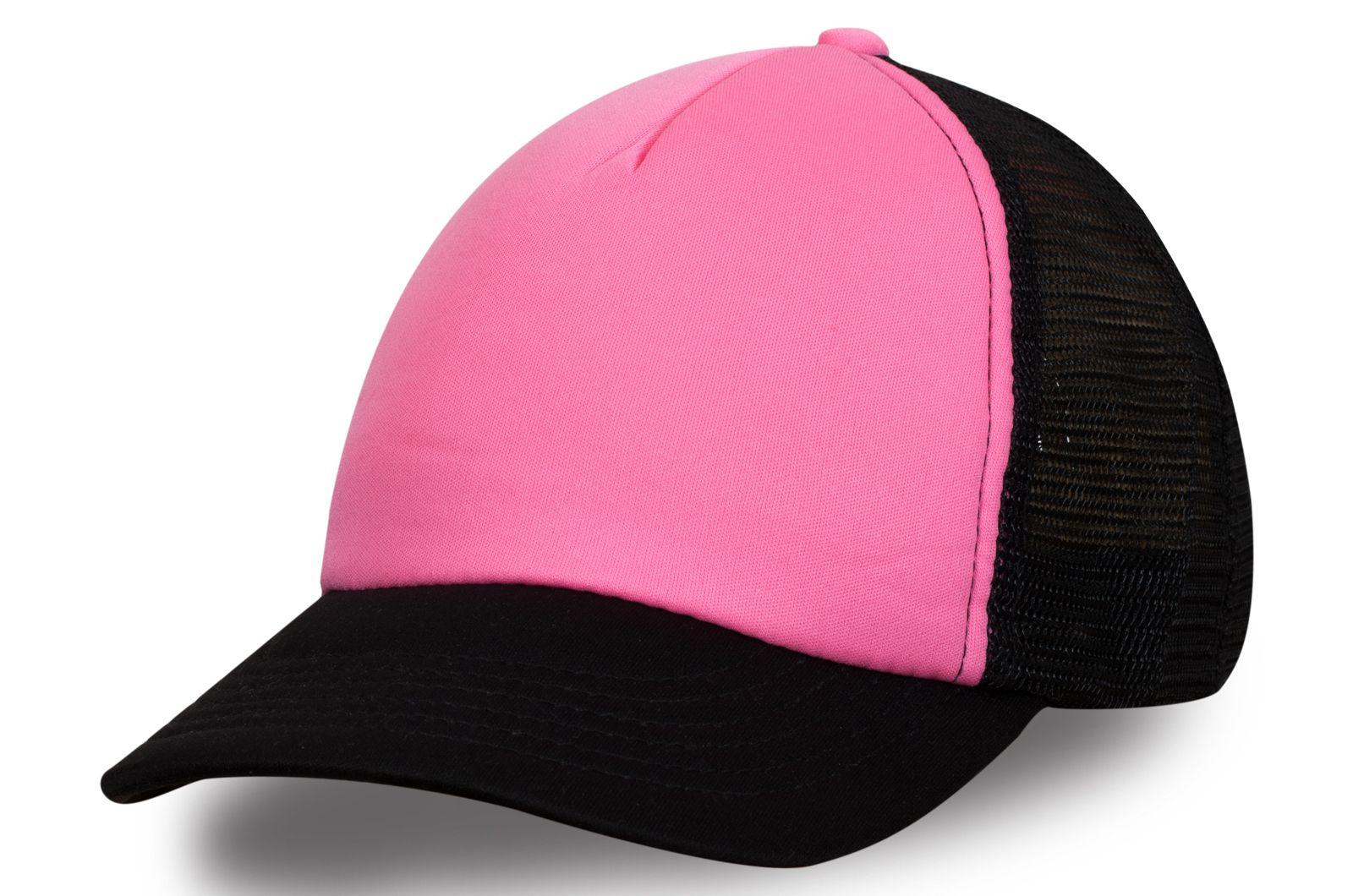 Черно-розовая бейсболка с сеткой