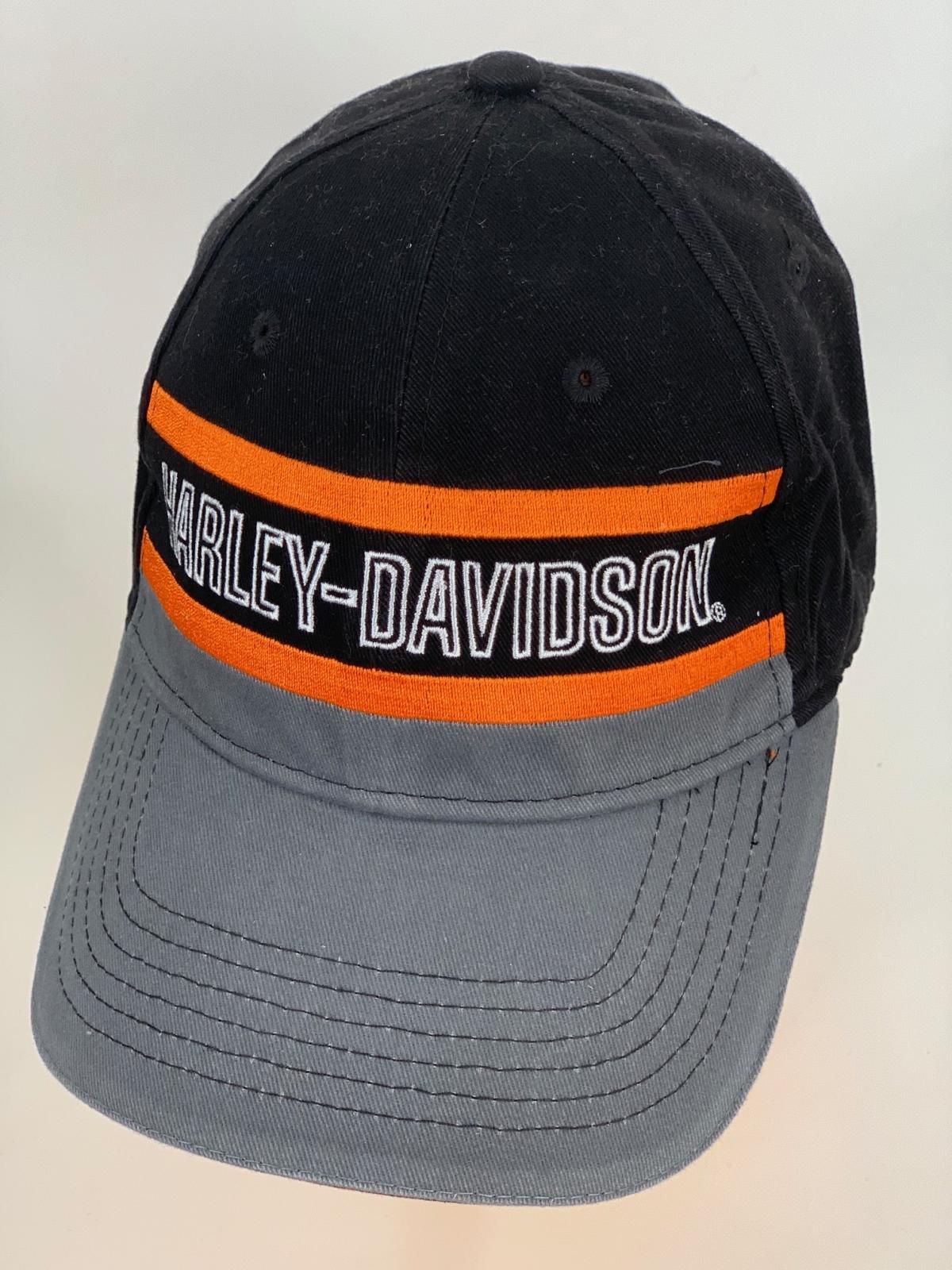 Черно-серая бейсболка Harley-Davidson с оранжевыми полосами