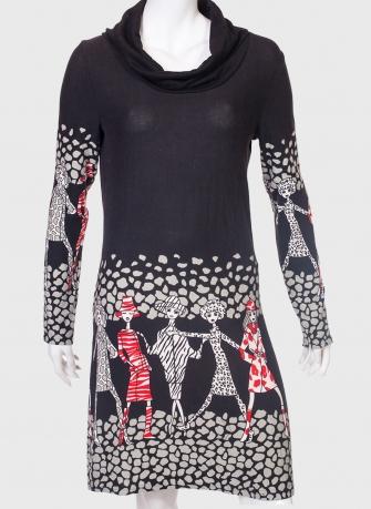 Черное брендовое платье с воротом-хомутом