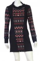 Купить черное миди-платье с оригинальным орнаментом от бренда LongBao по экономичной цене