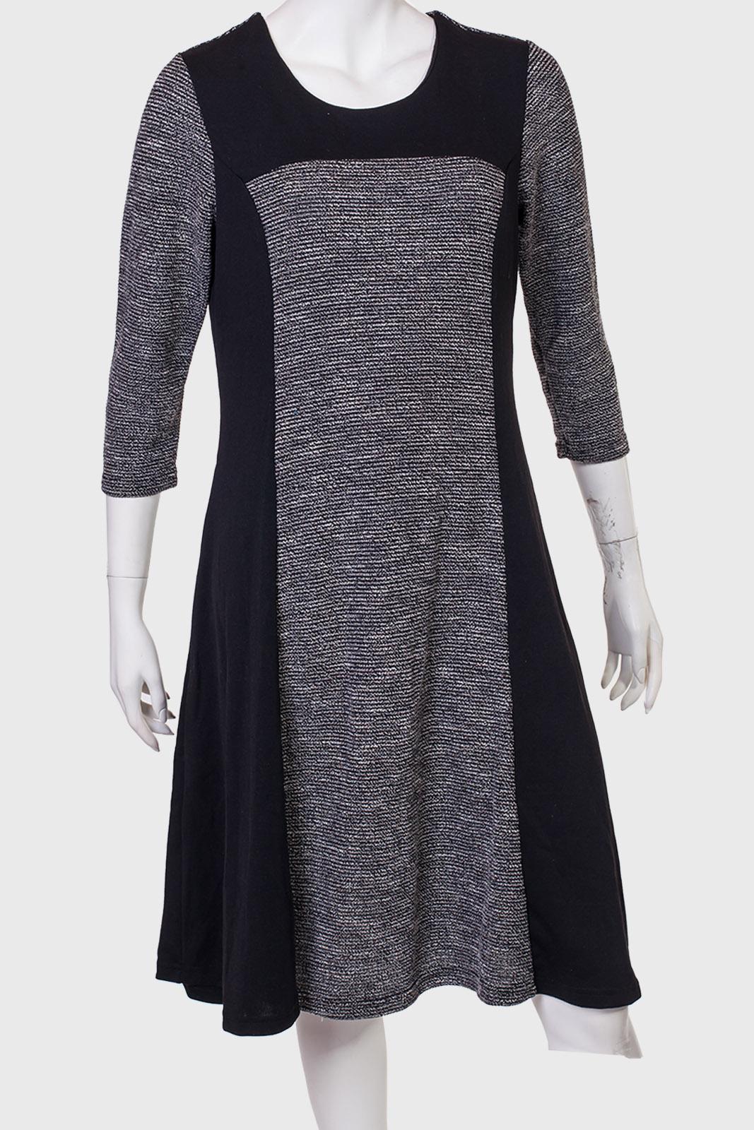 Купить черное платье с серыми вставками от бренда Marie Claire