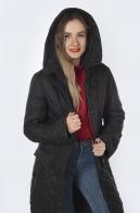 Черное стеганое женское пальто с капюшоном от Yeshi.