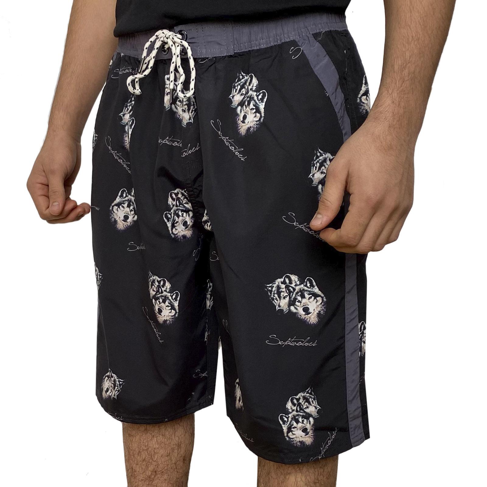 Чёрные бордшорты с фирменным принтом Septwolves