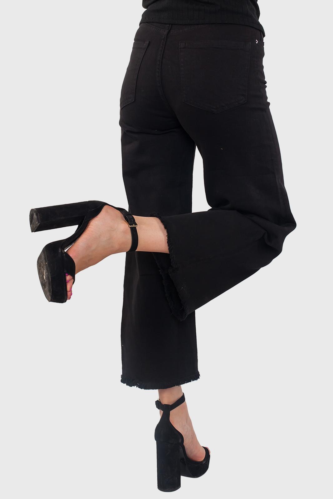 Черные широкие женские джинсы