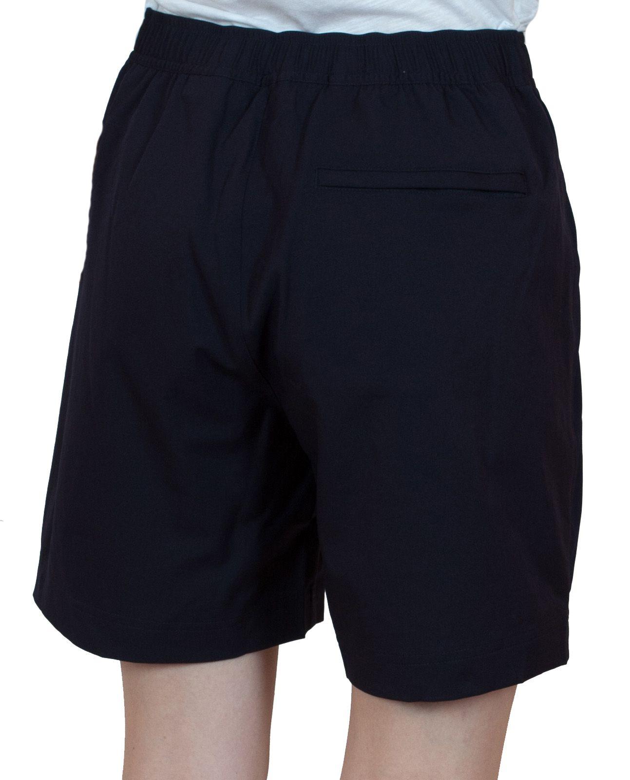 Спортивные черные шорты для женщин - вид сзади