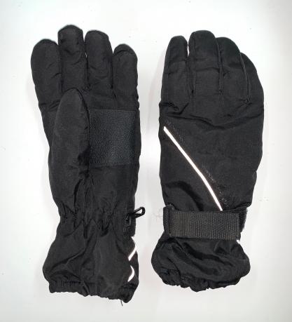 Черные зимние перчатки с белой полосой