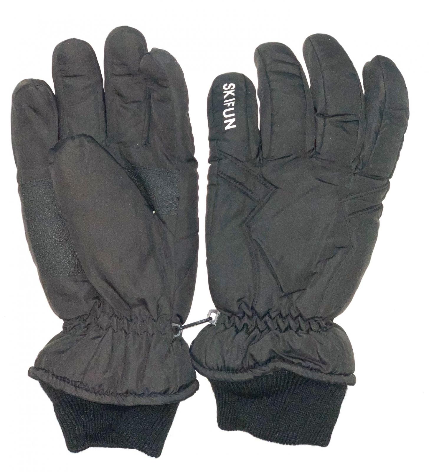 Черные зимние перчатки с манжетами и белой надписью