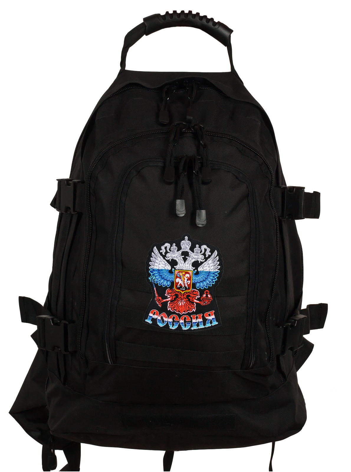 "Черный армейский рюкзак 3-Day Expandable Backpack 08002A Black с эмблемой ""Россия"""