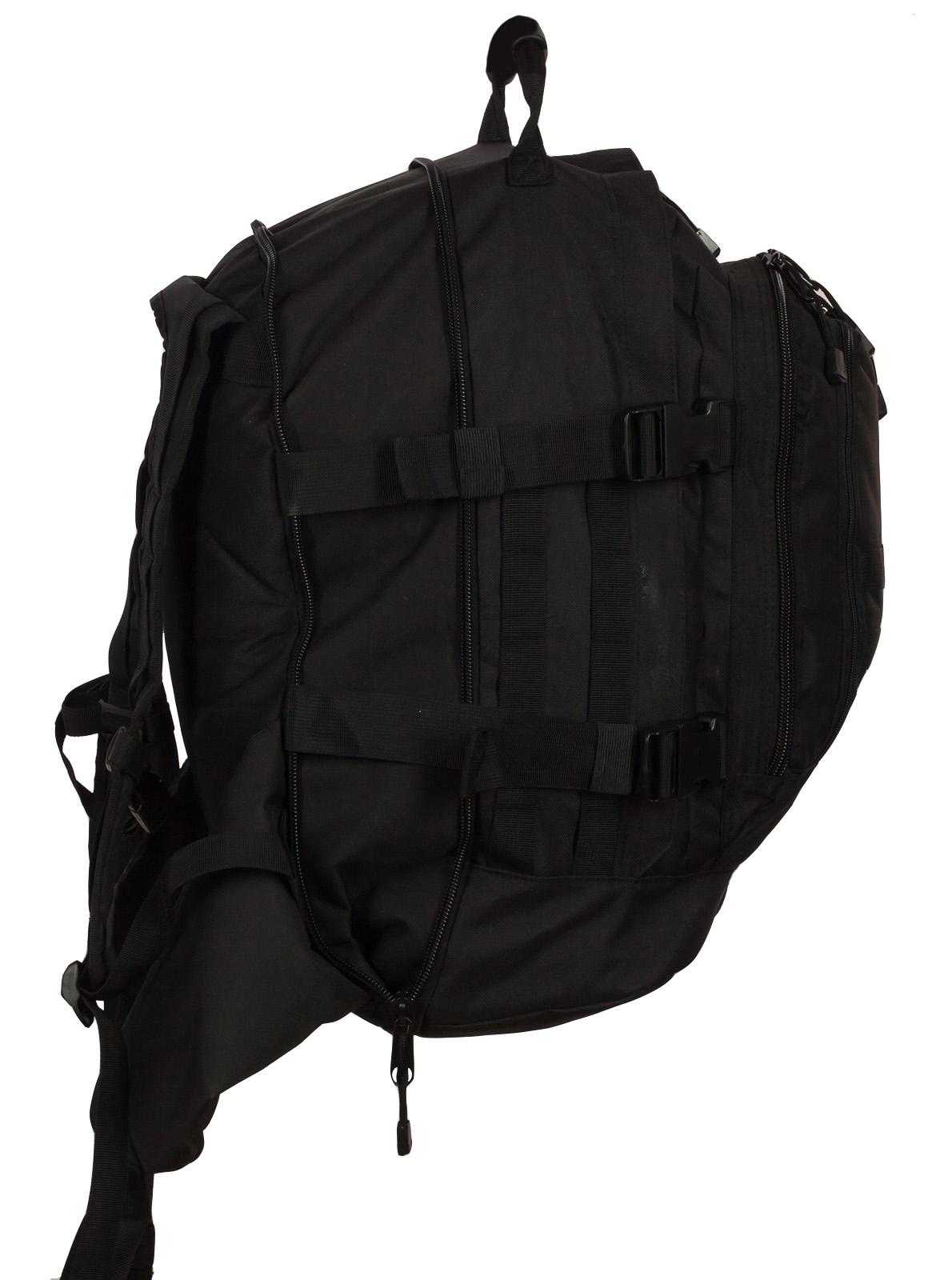 """Черный армейский рюкзак 3-Day Expandable Backpack 08002A Black с эмблемой """"Россия"""" оптом в Военпро"""