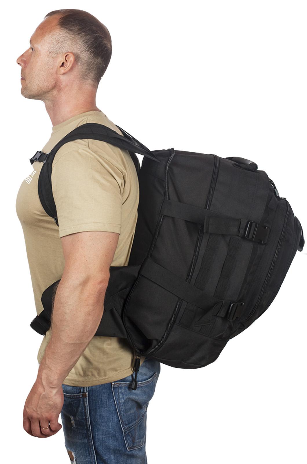 Черный армейский рюкзак с эмблемой МВД России купить выгодно