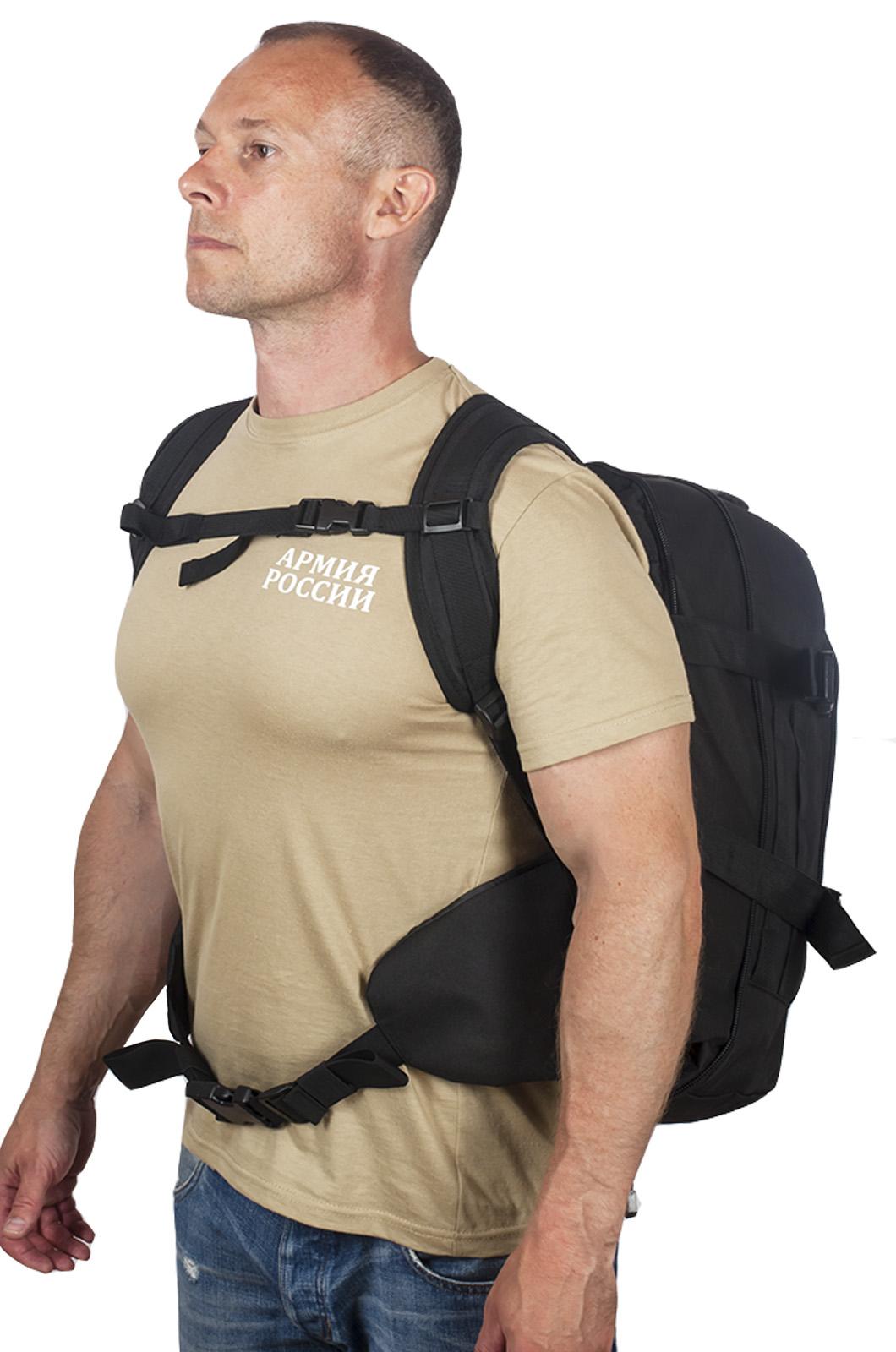 Черный армейский рюкзак с эмблемой МВД России купить в подарок