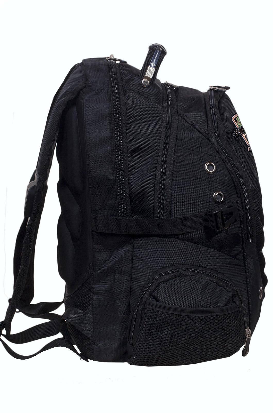 Черный эргономичный рюкзак с эмблемой Охотничий Спецназ - заказать по низкой цене