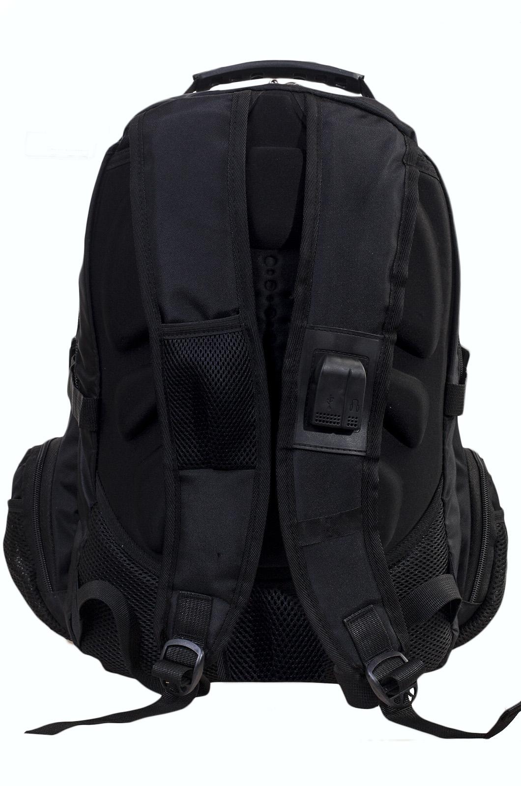 Черный эргономичный рюкзак с эмблемой Охотничий Спецназ - заказать онлайн