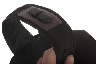 Черный эргономичный рюкзак с нашивкой Герб России - купить оптом