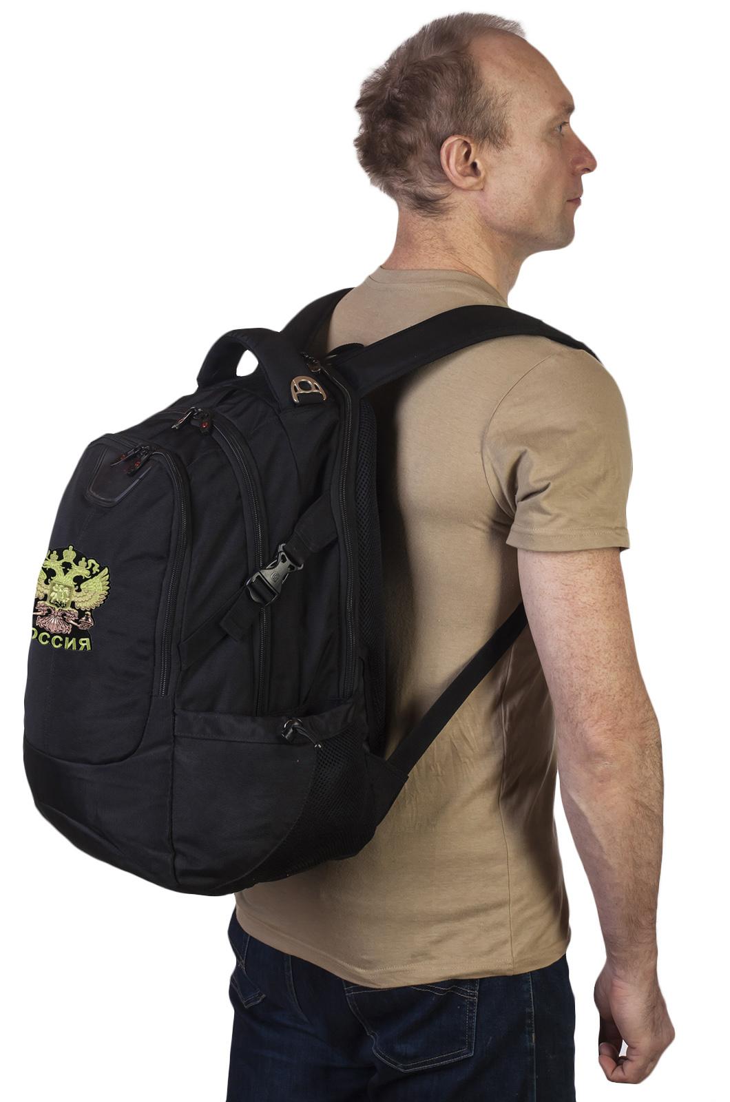 Черный эргономичный рюкзак с нашивкой Герб России - купить по низкой цене