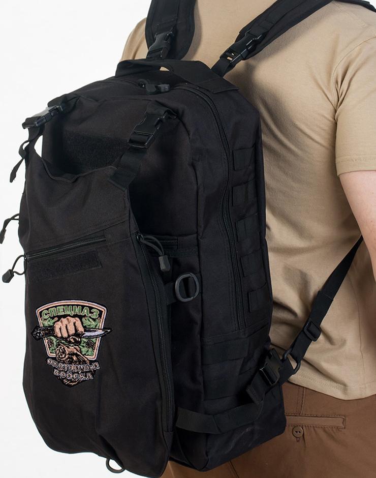 Черный эргономичный рюкзак с нашивкой Охотничий Спецназ