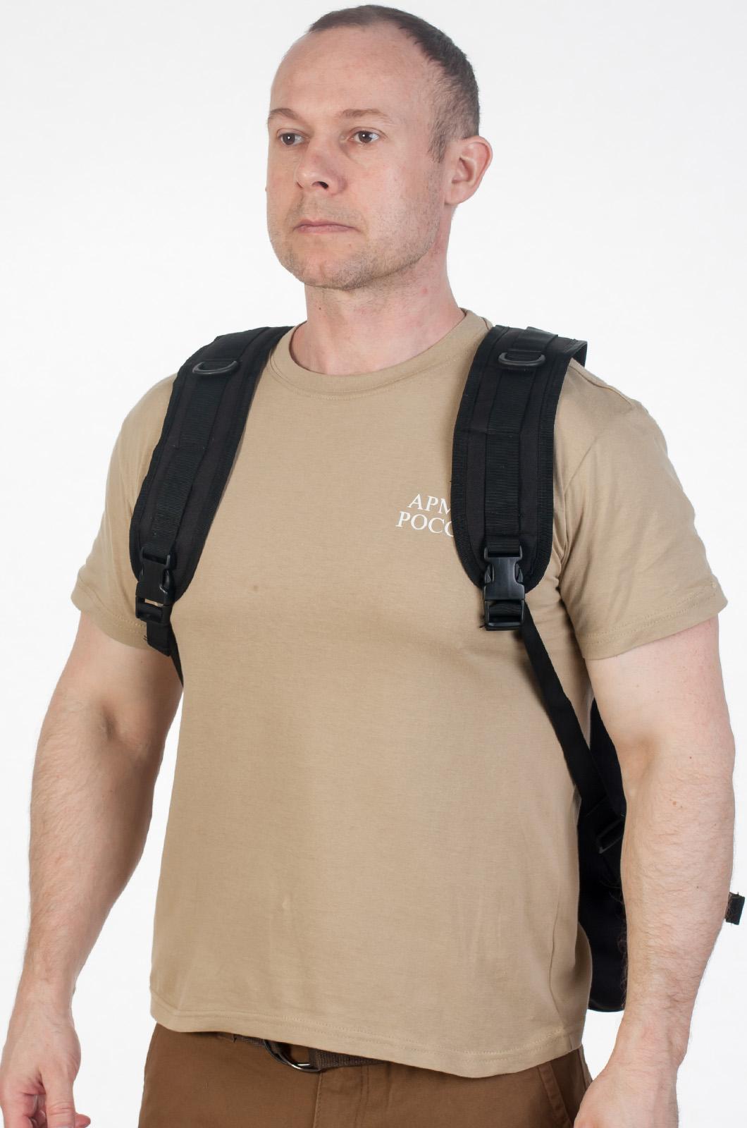 Черный эргономичный рюкзак с нашивкой Охотничий Спецназ - заказать онлайн